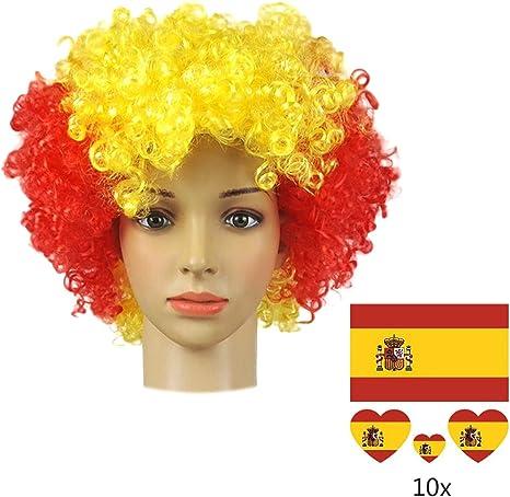 Peluca España Bandera Nacional Color para la Copa del Mundo Rusia 2018 FIFA XXX Fútbol Fanáticos del fútbol Bandera nacional Cabello afro Cosplay Fiesta día Nacional: Amazon.es: Deportes y aire libre