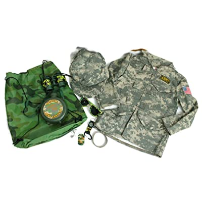 9 pc Pretend Play Army Costume Boys Set 3-6X with Camouflage Toys - Includes Army Jacket, Army Hat, Toy Binoculars, Toy Canteen, Dog Tags and More: Clothing