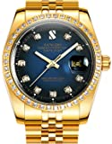 Gosasa Diamonds Men's Gold Stainless Steel Band Automatic Mechanical Watches