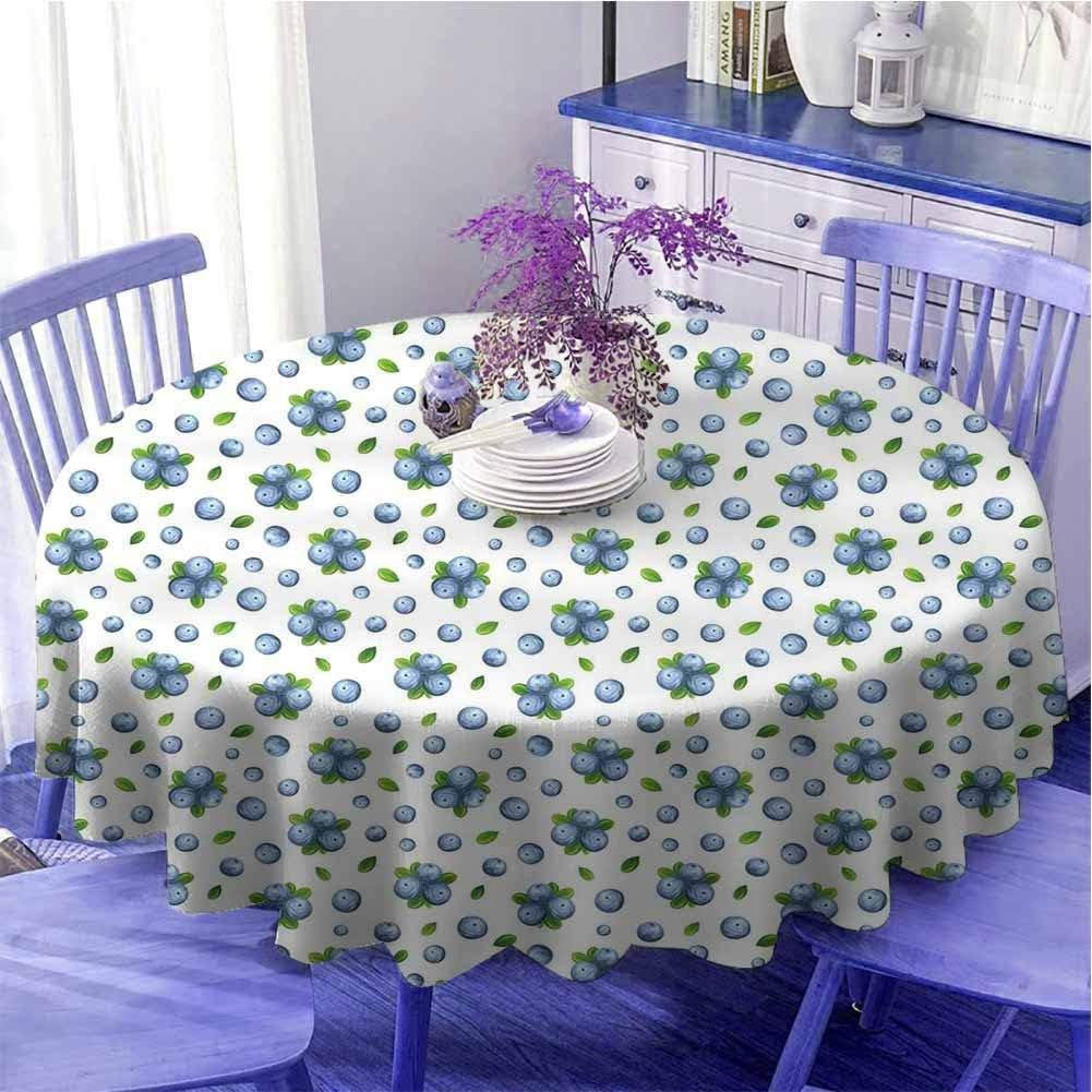 Cocina pared impermeable mesa redonda paño fresco arándanos maduros frutas jugosas verano orgánico alimentos pintura estilo suave al tacto diámetro 67 pulgadas azul verde blanco