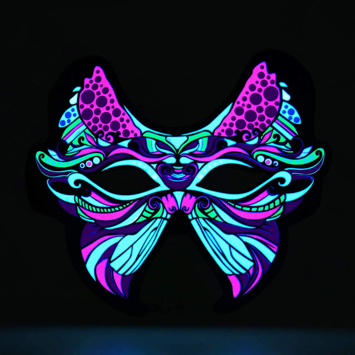 Sound Reactive LED Mask Christmas Mask Lighted Up Butterfly Mask for Party Music Reactive Flashing Mask Light Up Activated LED