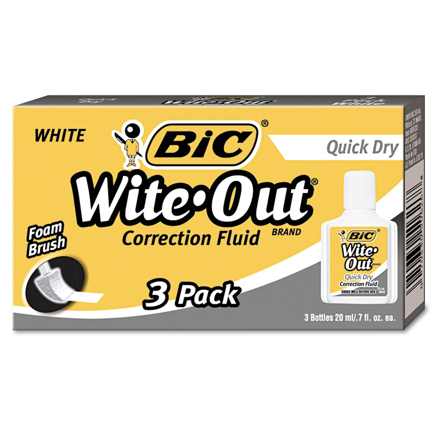 BIC WOFQD324 Wite-Out Quick Dry Correction Fluid, 20 ml Bottle, White, 3/Pack by BIC