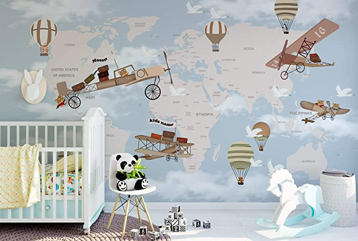 Map With Airplane Nursery Wallpaper Educational Geography Wallpaper For Kids  Room Balloons Wall Mural For Baby Bedroom Slef Adhesive Fabric Wall Decal  ...