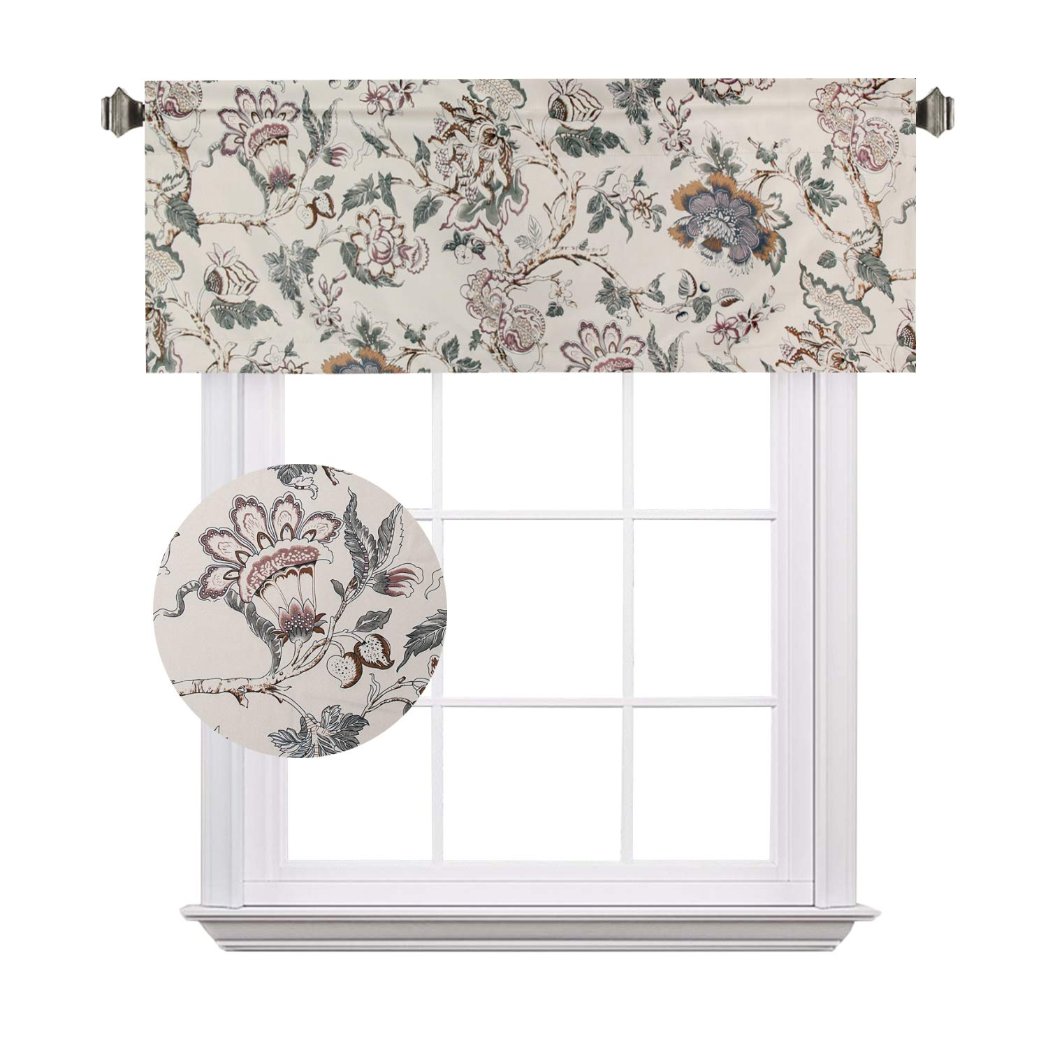 Rod Pocket, 52 by 18 Inch, Flroal in Sage and Brown H.VERSAILTEX Energy Saving Curtain Valances Matching with Curtain Panels