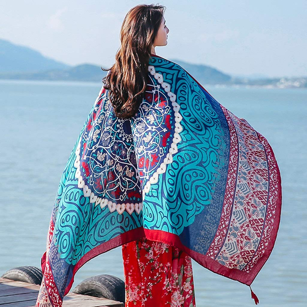 Ethnic Style Cotton and Linen Scarves Ladies Oversized Travel Shawl Long Retro Tassel Pendant Beach Towel Sunscreen Warm Multi-Design (Edition : H)