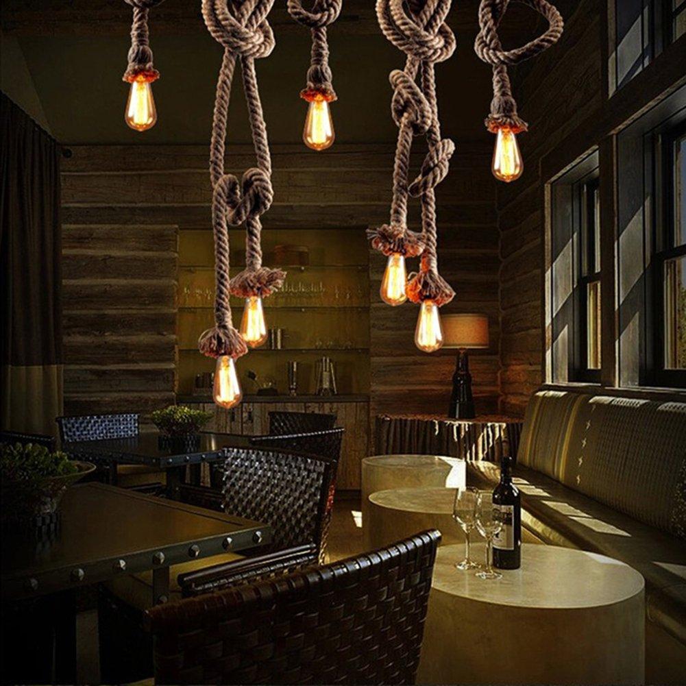 Missbee 3 Pack Vintage Hemp Rope Pendant Light Fixture E27 Base,1 Meter Retro Hemp Rope Hanging Light Vintage Ceiling Light Lamp Retro Style for Dining Hall Restaurant Bar Lighting