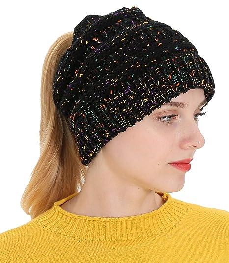 ea103e0a2bd LOKIDVE Women s Ponytail Beanie Cap Winter Messy High Bun Ribbed Knit Hat -Black