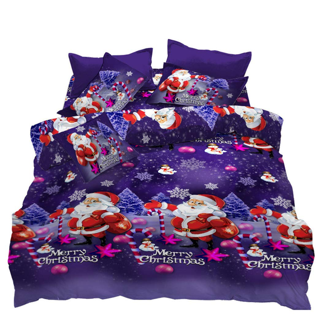 clearance quilt set with duvet cover christmas purple pattern bedding king size 804035235006 ebay. Black Bedroom Furniture Sets. Home Design Ideas