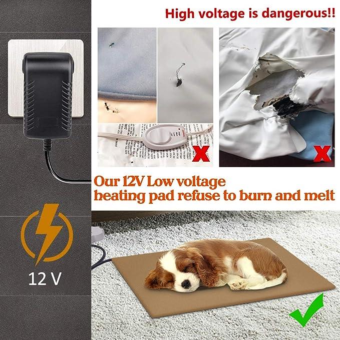 Josechan Manta Eléctrica para Perros Bajo Voltaje 12V Estera de Calefacción Cojín Calentamiento Manta con Temperatura Ajustable 7 Mastique Resistente ...