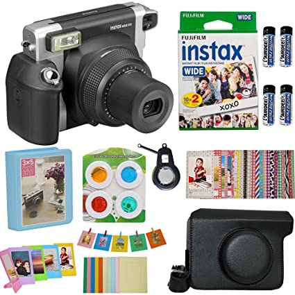 Fujifilm Instax Wide 300 Instant Film Camera (Black) (USA) with Wide Fuji  Film (20 Shots) + Accessories Kit Bundle + Case with Strap + 4 Filter Lens  +