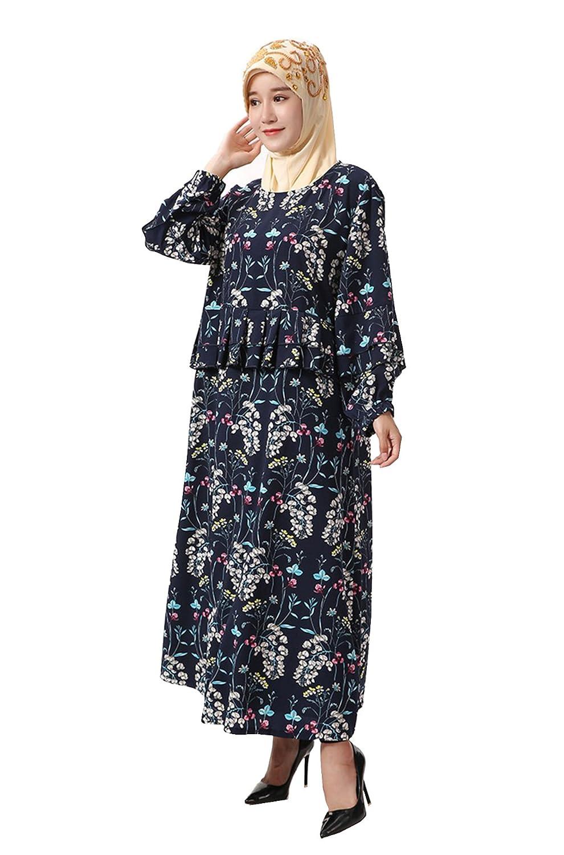 GladThink Women's Muslim Islamic Fashion Flowers Robe Maxi Dress Round Neck