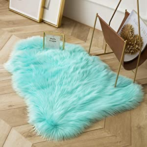 Ashler Soft Faux Sheepskin Fur Chair Couch Cover Area Rug for Bedroom Floor Sofa Living Room Turquoise 2 x 3 Feet