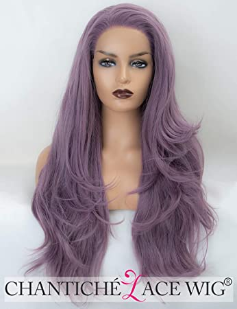 Chantiche Ash Purple Lace Front Wig for Ladies Natural Straight Long Synthetic Wig UK Heat Resistant Hair Wigs Half and Half Tied 60cm: Amazon.es: Belleza