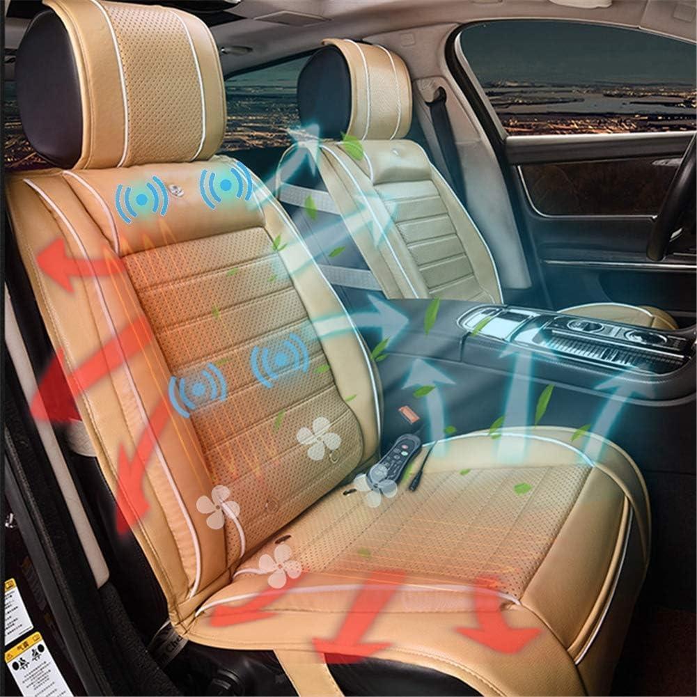 加熱冷却カーシート、換気マッサージクッション3-In-1カースマートシートクッション冬用暖房、夏用冷却、運転用振動マッサージはほとんどの車に適合,ベージュ