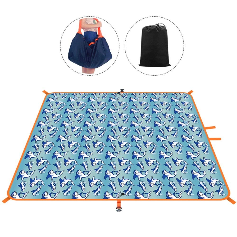 ROIY Moisture-Proof Mat Outdoor Picnic Mat Portable Multi-Function Wild Picnic Mats Travel Bag Tent Double Beach Mat Great White Shark (Color : Great White Shark) by ROIY