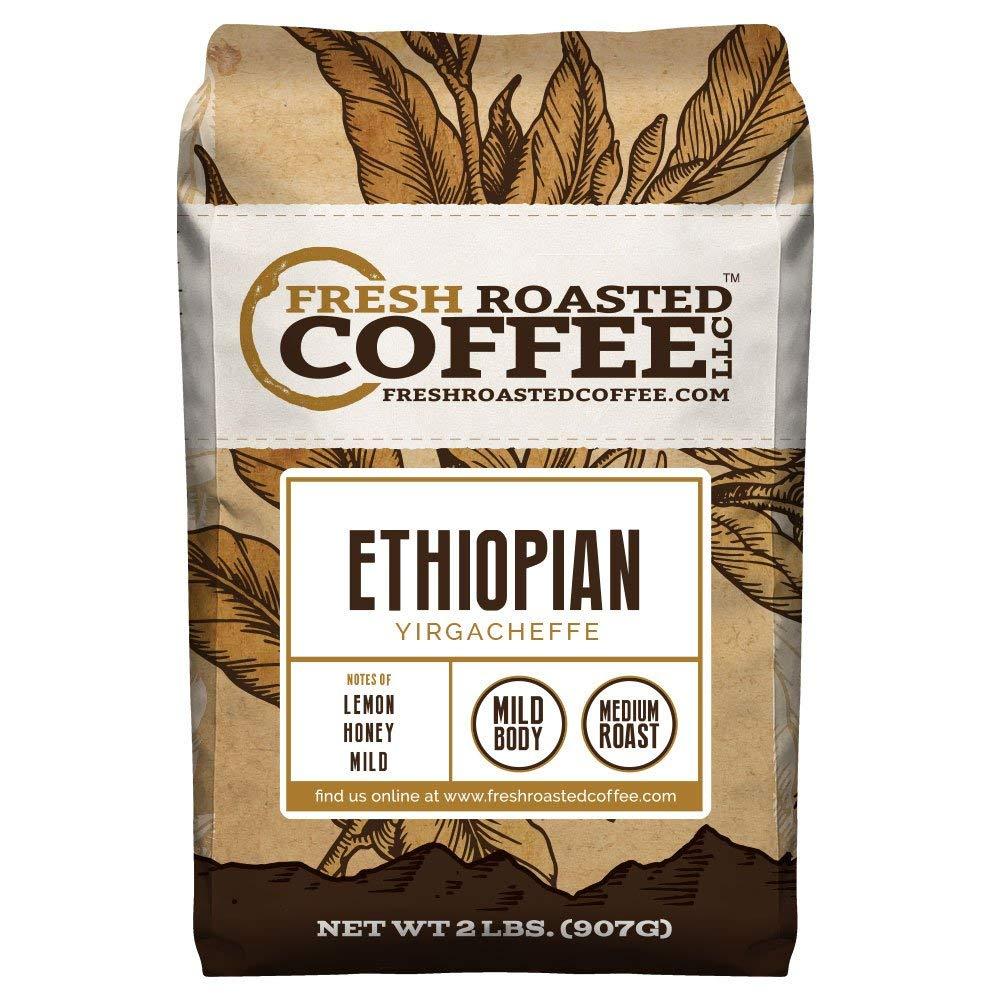 Ethiopian Yirgacheffe Coffee, Whole Bean Bag, Fresh Roasted Coffee LLC. (2 LB.) by FRESH ROASTED COFFEE LLC FRESHROASTEDCOFFEE.COM