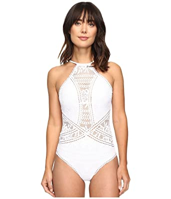 e21a3173dd2e7 Becca by Rebecca Virtue Women's Prairie Rose One-Piece White Swimsuit at  Amazon Women's Clothing store: