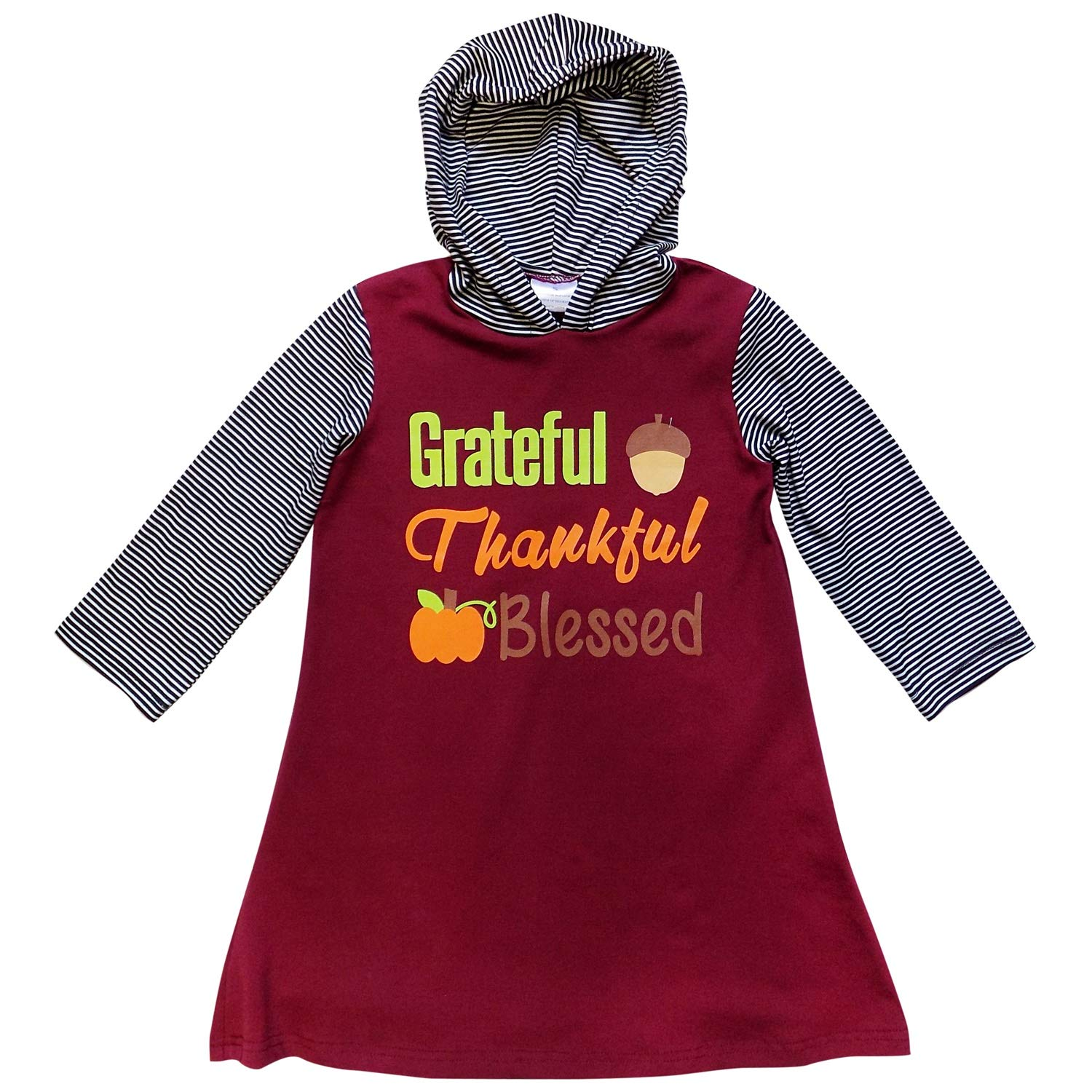 So Sydney Girls Toddler Fall Holiday Hoodie Dress Thanksgiving Thankful Blessed