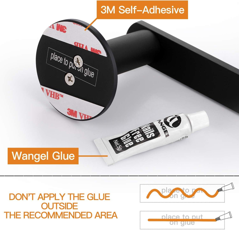 Pegamento Patentado Plateado Porta Toallas Aluminio Autoadhesivo Toalleros Repisa Acabado Mate Wangel Toallero de Barra para Ba/ño