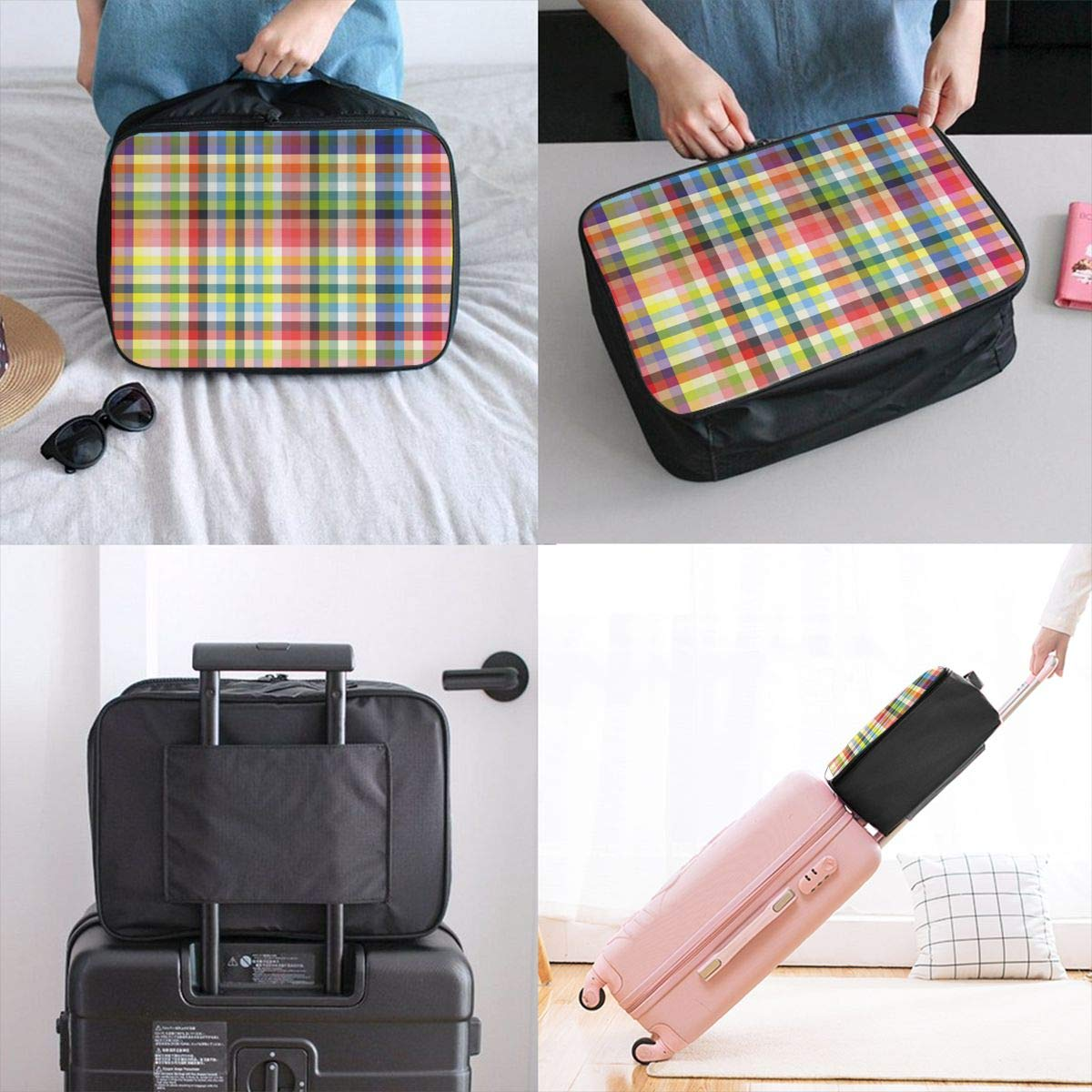 ADGAI Diagonal Tartan Vibrant Green Canvas Travel Weekender Bag,Fashion Custom Lightweight Large Capacity Portable Luggage Bag,Suitcase Trolley Bag
