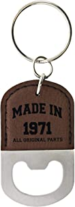 50th Birthday Gifts for Women Made 1971 50th Birthday Party Gifts Leatherette Bottle Opener Keychain Key Tag Brown