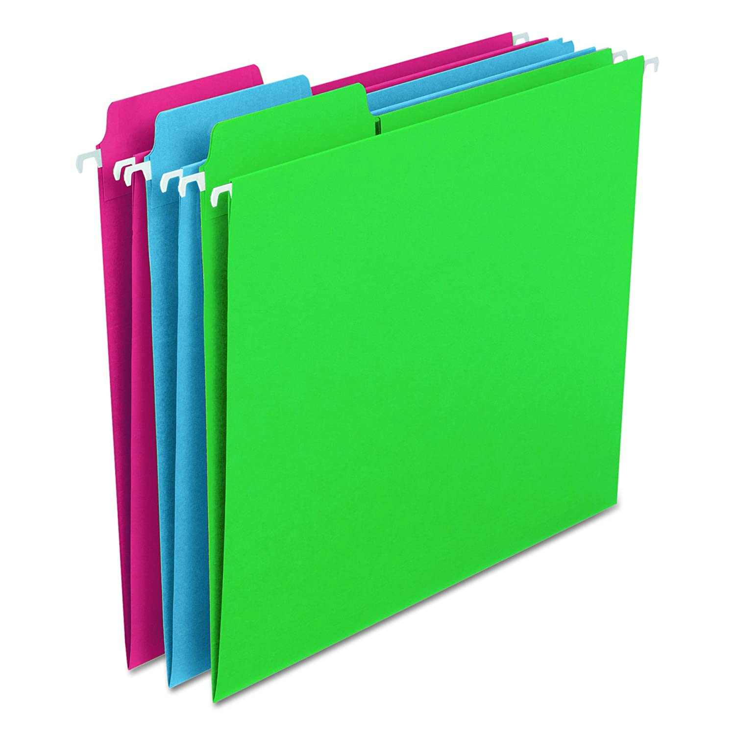 FasTab Hanging File Folders Letter Assorted Primary 18 Box