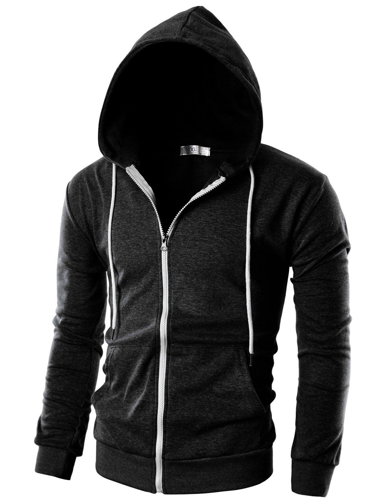 Ohoo Mens Slim Fit Long Sleeve Lightweight Zip-up Hoodie with Kanga Pocket/DCF002-CHARCOAL-L
