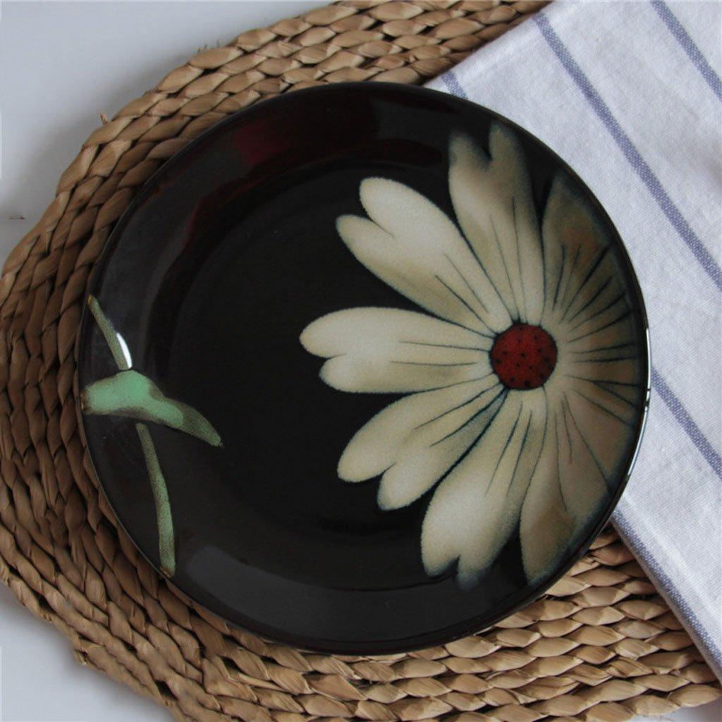 C&S CS Steak Plate Western Style Platos de vajilla de cerámica para el hogar Sun Flower Pattern Disc Underglaze Color