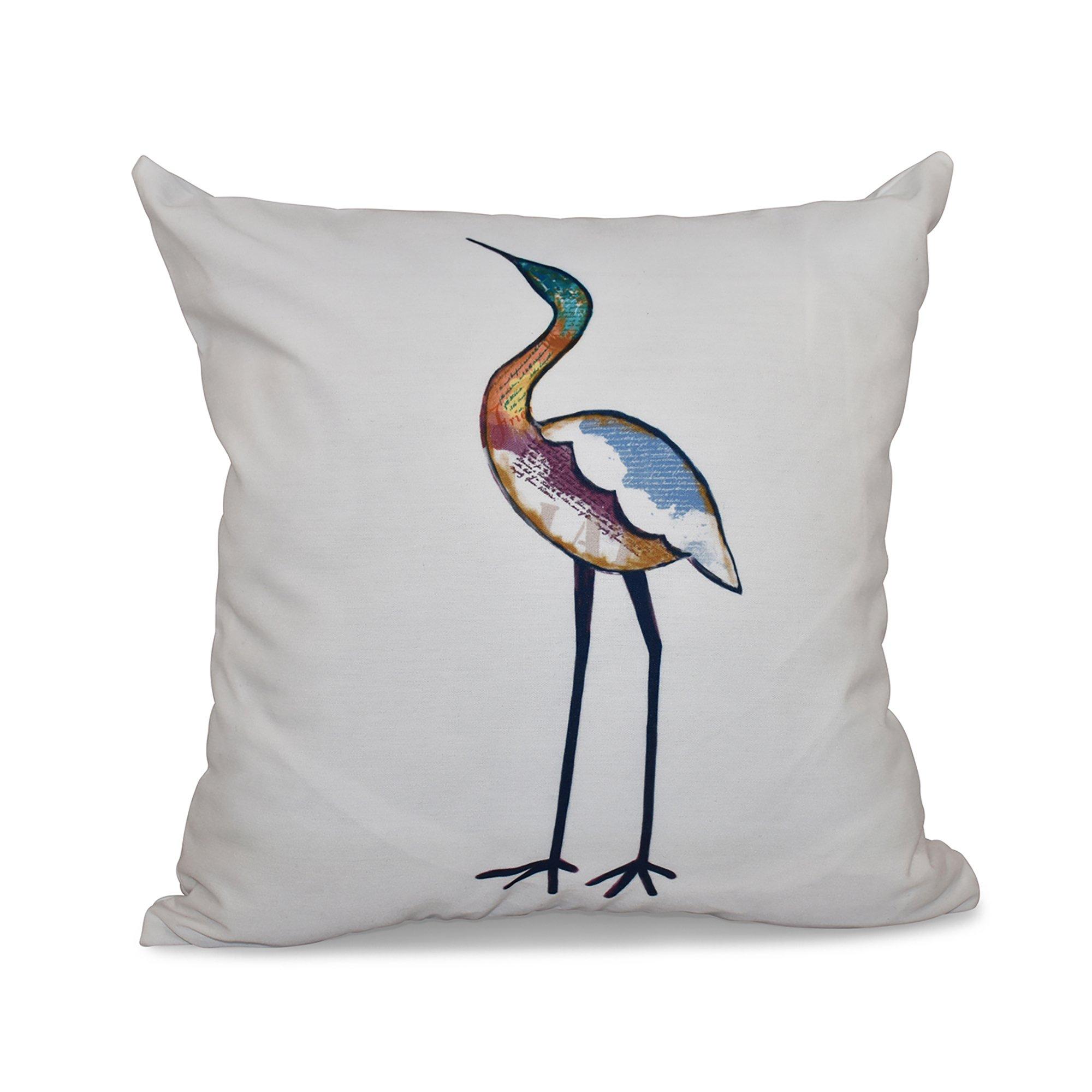 E by design 20 x 20 inch,Bird Fashion, Animal Print Pillow, White