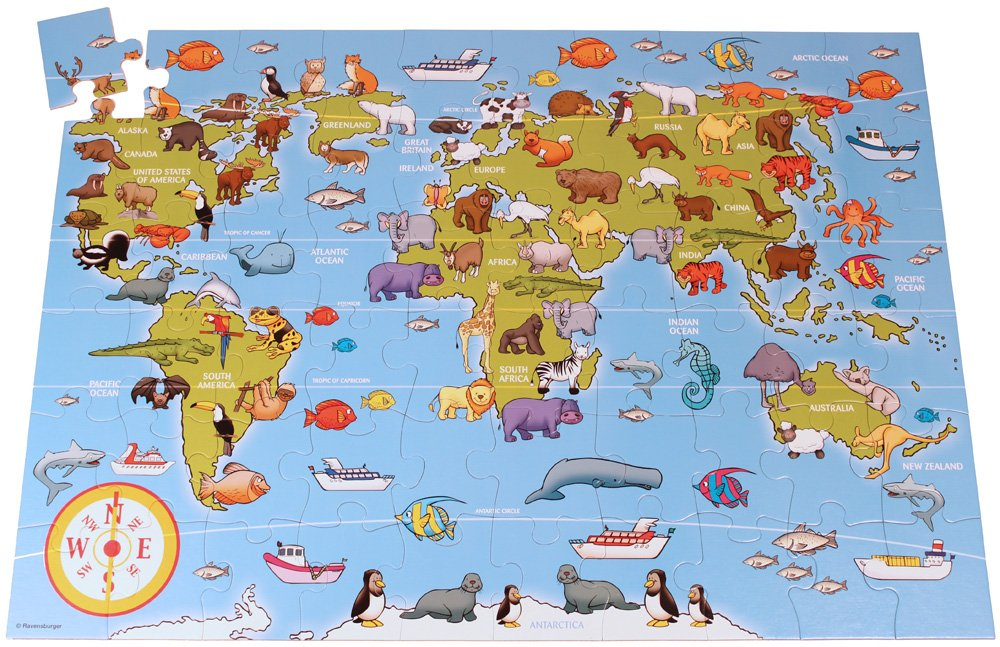 Ravensburger 7072 animals of the world giant floor jigsaw puzzle ravensburger 7072 animals of the world giant floor jigsaw puzzle 60 pieces ravensburger amazon toys games gumiabroncs Image collections