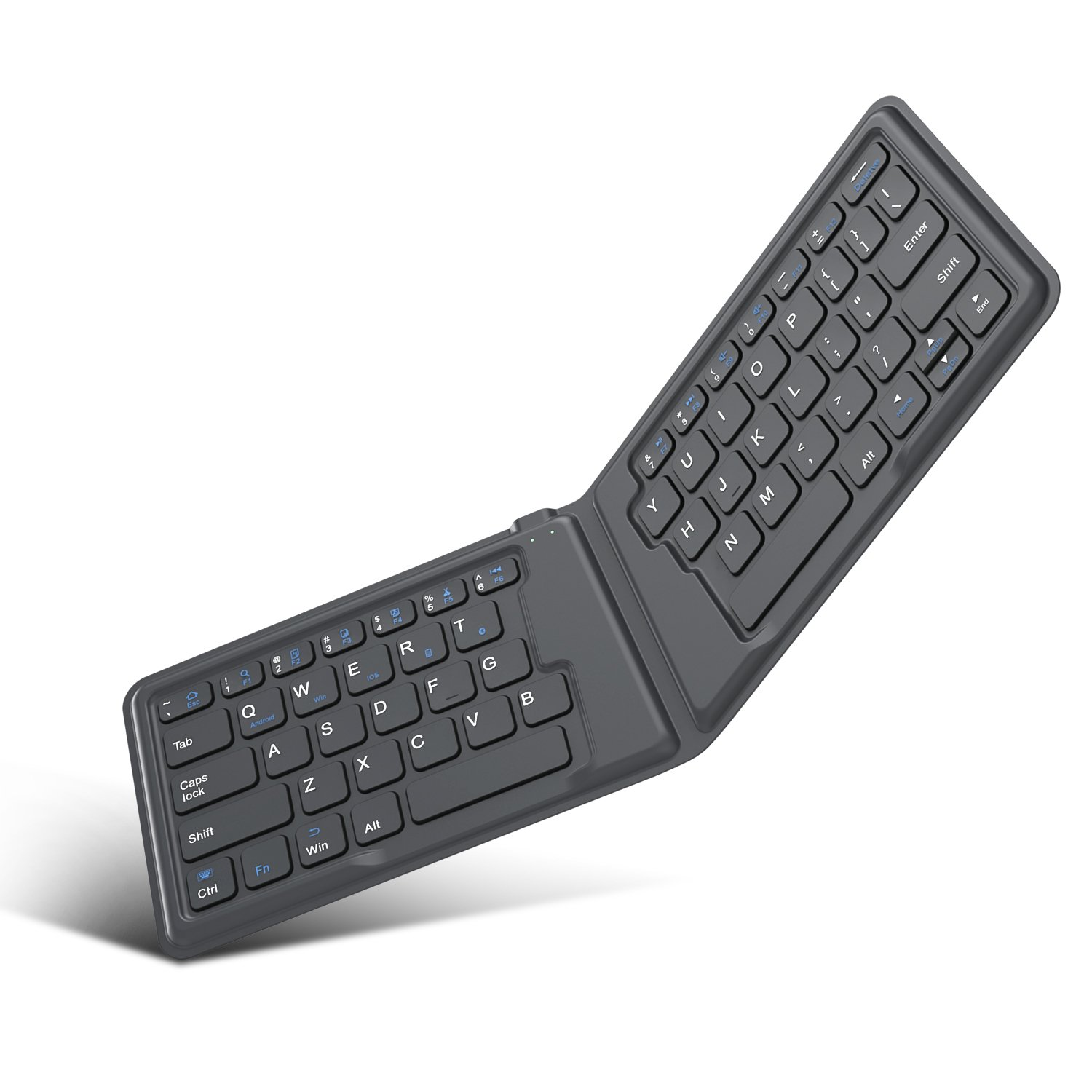 MoKo Wireless Bluetooth Keyboard, Ultra-Thin Foldable Rechargeable Keyboard for iPhone, iPad 9.7, iPad pro, Fire HD 10, Compatible with all iOS, Android and Windows Tablets Smartphones Devices, Gray