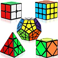 Dreampark Speed Cube Set, 5 Pack Magic Cube Bundle - 2X2X2 3X3X3 Pyramid Megaminx Skew Cube Smooth Sticker Cubes…