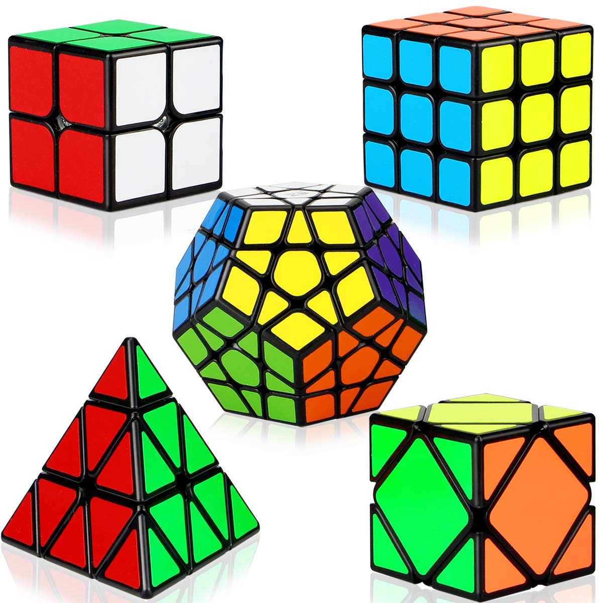 Dreampark Speed Cube Set, 5 Pack Magic Cube Bundle - 2x2x2 3x3x3 Pyramid Megaminx Skew Cube Smooth Sticker Cubes Collection Puzzle Toy for Kids by Dreampark