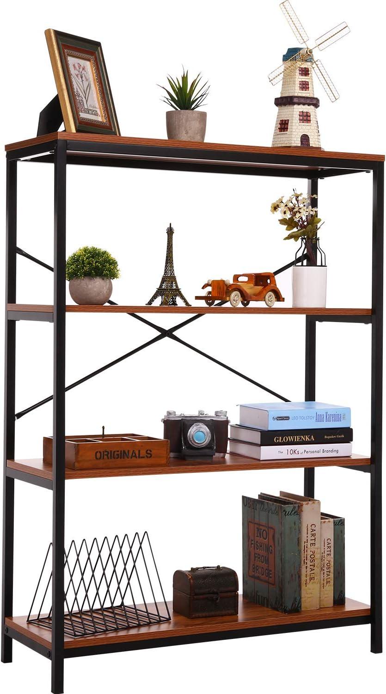 PaPafix Bookshelf, Open Bookcase Modern Wide Book Shelf Wood Metal Industrial Bookcase Furniture Shelving Unit Storage 3 Tier Bookshelf