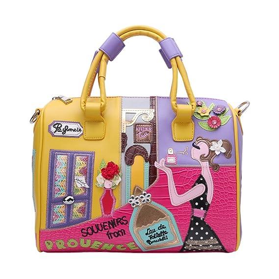 6caa69b2e0 Embroidery Totes Handbag For Women Girl Cartoon Stereo Embroidery Messenger  For Travel Handbag Colorful Shoulder Bag Top Zipper By BouT  Amazon.co.uk   ...