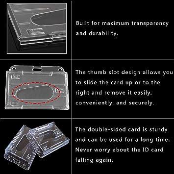 Osuter 20PCS Porta Badge Plastica Dura Porta Tessera Badge Trasparente Verticale e Orizzontale per Varie Carte