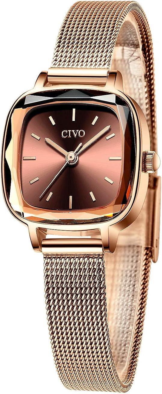 CIVO Relojes Mujer Relojes de Señoras Acero Inoxidable Minimalista Impermeable Diseñador Moda Relojes de Cuarzo Analógicos para Mujeres con Esfera Elegante Casual Relojes Oro Rosa/Azul/Púrpura/Negro
