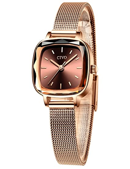 CIVO Relojes Mujer Relojes de Señoras Acero Inoxidable Minimalista Impermeable Diseñador Moda Relojes de Cuarzo Analógicos para Mujeres con Esfera ...