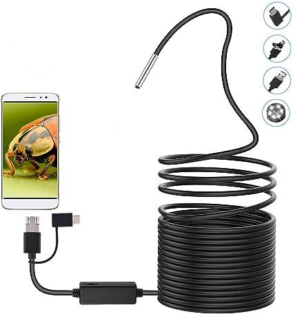 2 m Cam/éra endoscope HD 3 en 1 avec LED /étanche 1 m//2 m//3,5 m//5 m//10 m C/âble serpent rigide pour Android