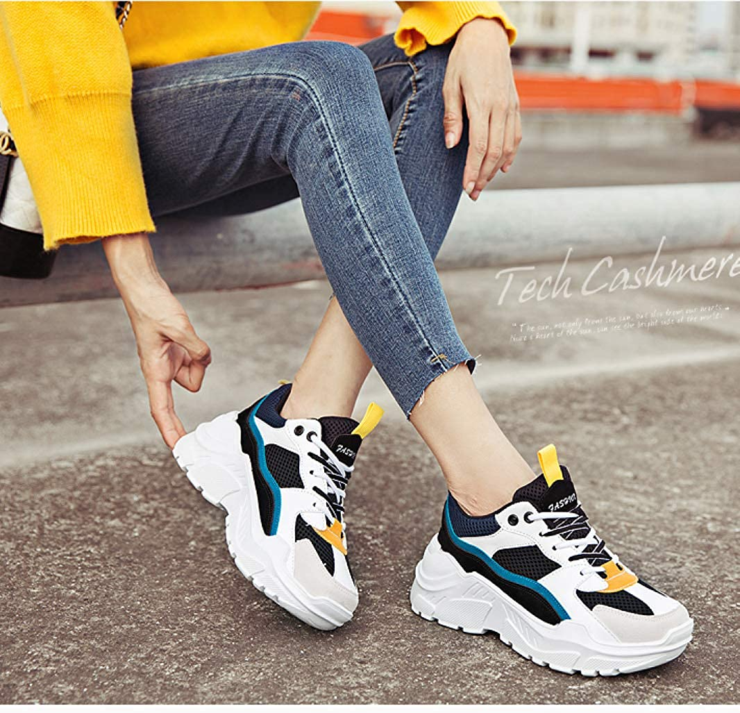 GODIWAN Womens High Heel Sneakers Ladies Lace up Air Mesh Shoes Girl Student Mixed Color Breathable Patchwork Thick Bottom Sport Footwear for Summer