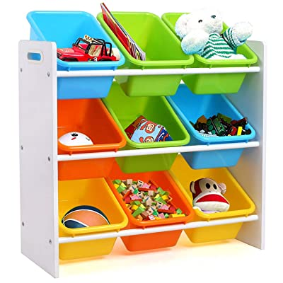 Homfa Toddler's Toy Storage Organizer with 9 Multiple Color Plastic Bins Shelf Drawer for Kid's Bedroom Playroom, White Rack: Home & Kitchen