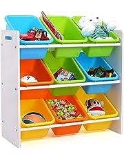 HOMFA Kid's Toy Storage Organizer with 9 Plastic Bins for Kids Bedroom Playroom,White/Primary
