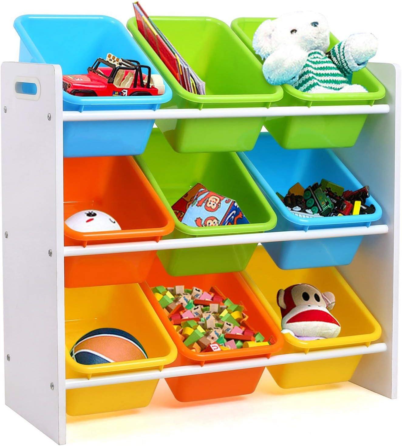 Homfa Estantería Infantil para Juguetes Libros Organizador Infantil de Juguetes Almacenamiento Juguetes con 9 Cajones 65 x 26.5 x 60cm