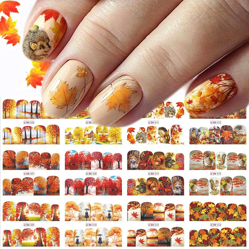 Fall Nail Art Sticker Decals Maple Leaf Squirrel Water Transfer Nail Tattoo 12 Different Designs for Kids Girls Women Thanksgiving DIY Nail Design Manicure Tips Decoration