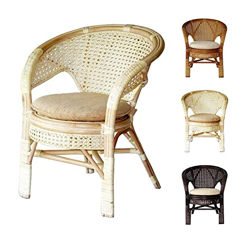 Pelangi Handmade Rattan Dining Wicker Chair W cushion, White Wash