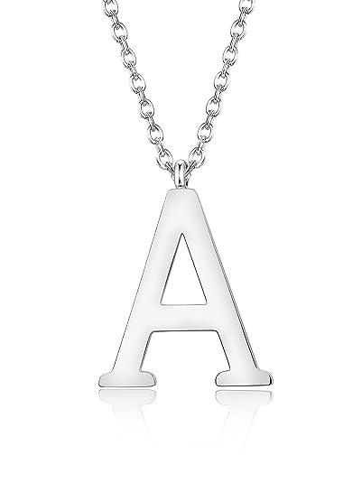 Pendentif 56cm Pour ArgentornoirLongueur Collier Acier Femmes Hommes Az Initiale Filles Alphabet Inoxydable Besteel Lettre bvI6gf7Yy