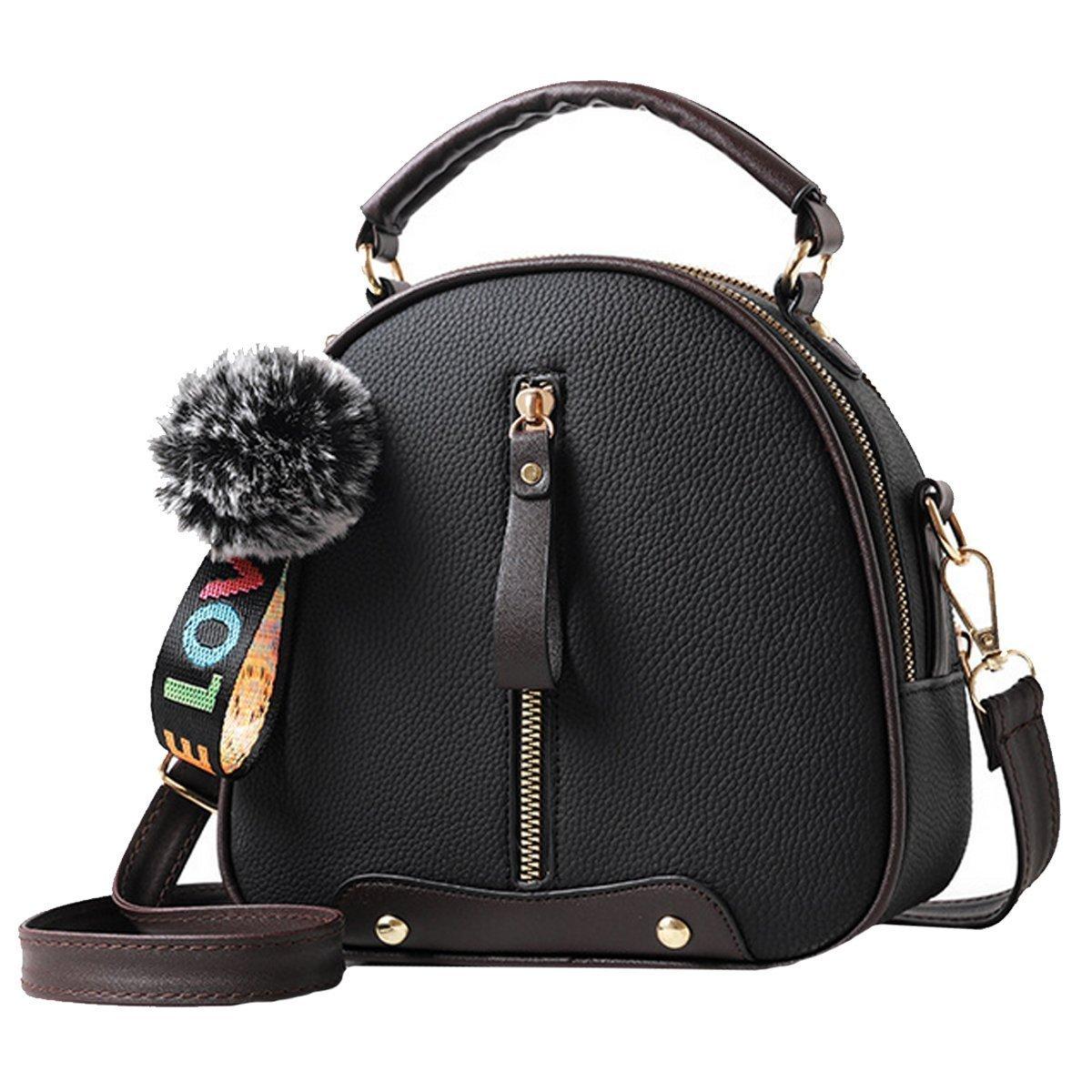 ZLMBAGUS Women Vintage Sweet Fashion Tote Top Handle Satchel Crossbody Handbags PU Leather Fur Ball Clutch Purse Shoulder Bag Black