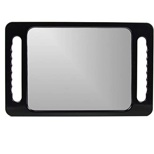 Large Hand Mirror with Double Handle - Rectangular Hand Held Mirror with Handle - Hair Salon Equipment Hairstylist and Barber Accessories
