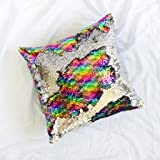 Mermaid Pillow with Insert Rainbow Silver Holographic Flip Sequin 16x16 Decorative Throw Pillow, Magic Glitter Reversible Color Changing Throw Pillow Cushion Shams for room, Sofa, bedroom and living room decor