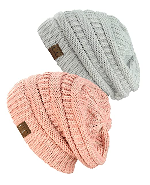 a14e02b1ddfe96 Image Unavailable. Image not available for. Color: NYfashion101 Exclusive  Unisex Two Tone Warm Cable Knit Thick Slouch Beanie Cap ...
